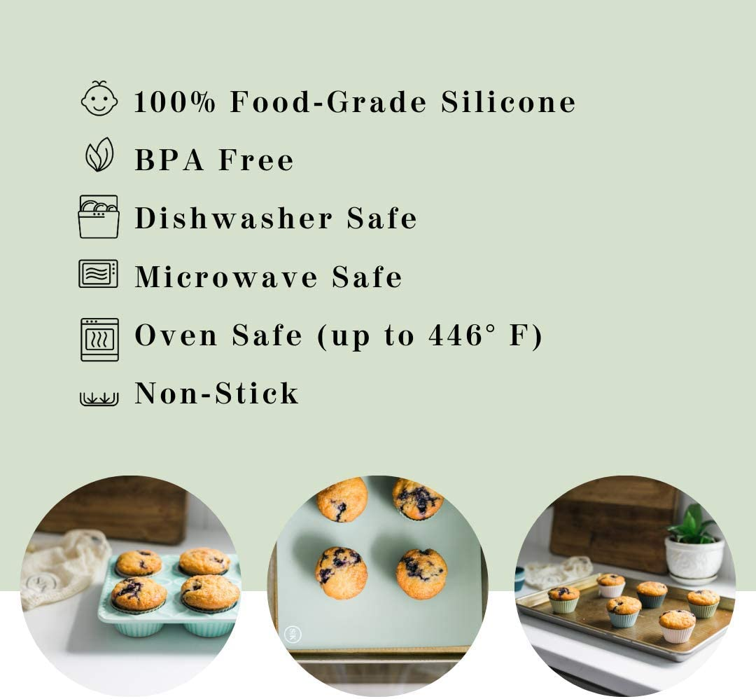 Dishwasher Safe The Silicone Kitchen Reusable Silicone Baking Cups BPA Free Non-Toxic Pack of 24