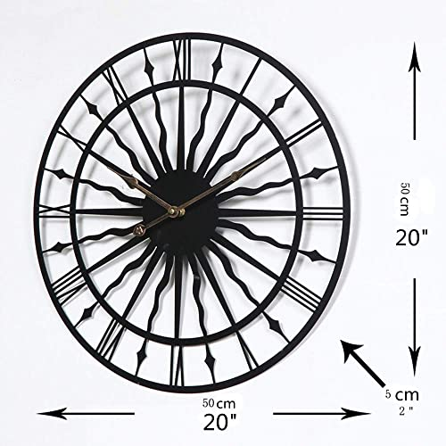 LightInTheBox Country Style 20″ Round Wall Clock Solid Large Clock Black Modern Design