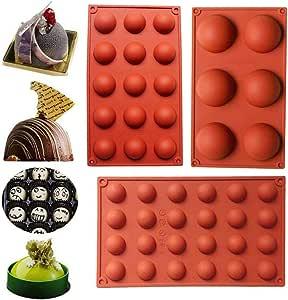 WENTS Molde grande de silicona semiesfera de 6/15/24 cavidades, 3 paquetes de moldes para hornear para hacer chocolate, pastel, gelatina y mousse de ...