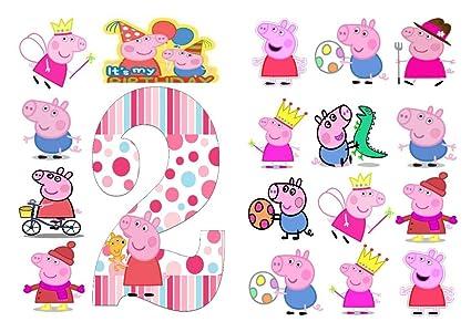 18 x Peppa Pig cumpleaños Fiesta Stand UP Papel Comestible decoración para Pasteles Decoraciones