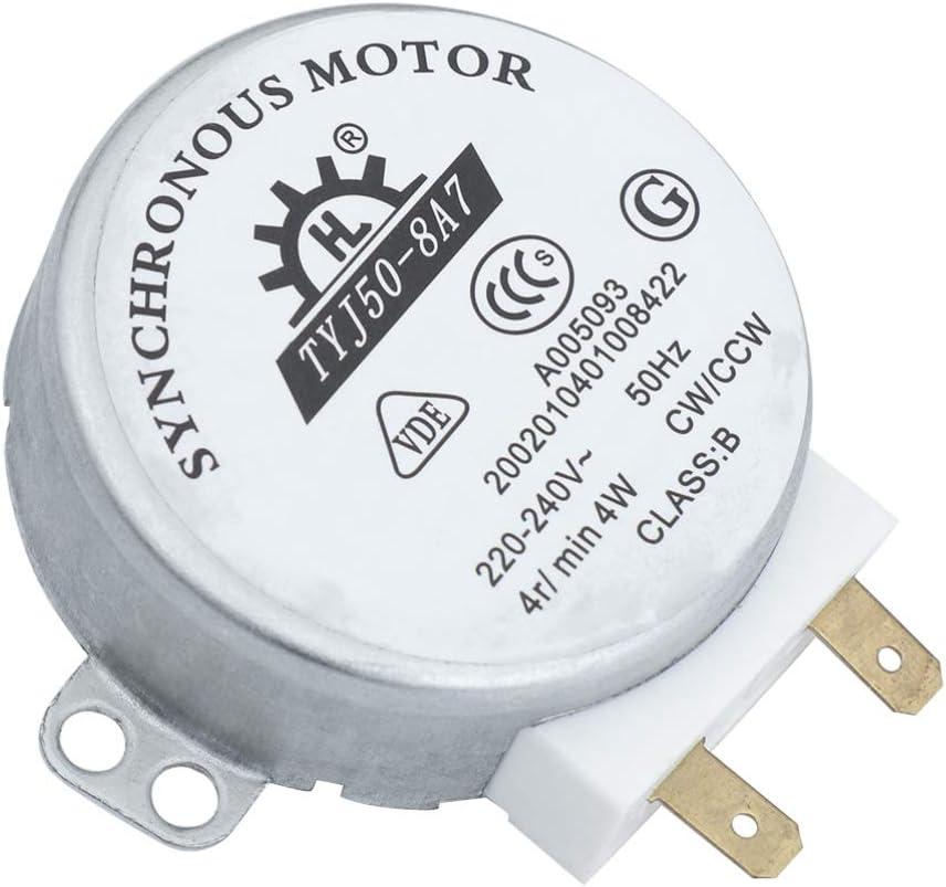 Hemobllo TYJ50-8A7 AC 220V-240V 4 RPM 4W CW//CCW Motor de Horno de Microondas Pr/áctico Rotary Turnable Durable Motor S/íncrono Motor de Horno de Microondas para Restaurante de Oficina en Casa