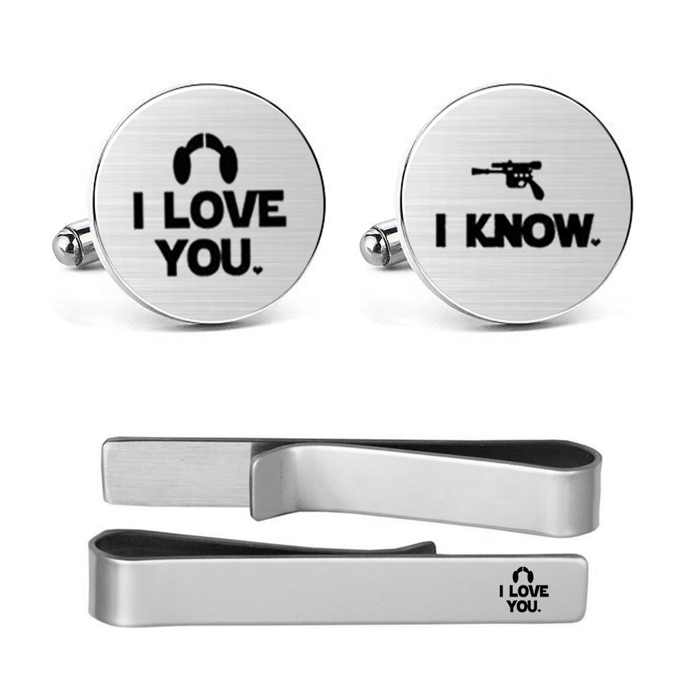 MUEEU Love Cufflinks Engraved I Love You I Know Valentine's Day Wedding Box Include (I love you i know round cufflinks and tie clip)