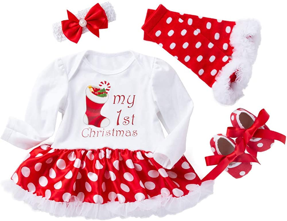 Halloween 4Pcs Infant Baby Girl Clothes Long Sleeve Pumpkin Skull Romper+Tutu Dress+Hairband+Leggings Winter Outfits Set