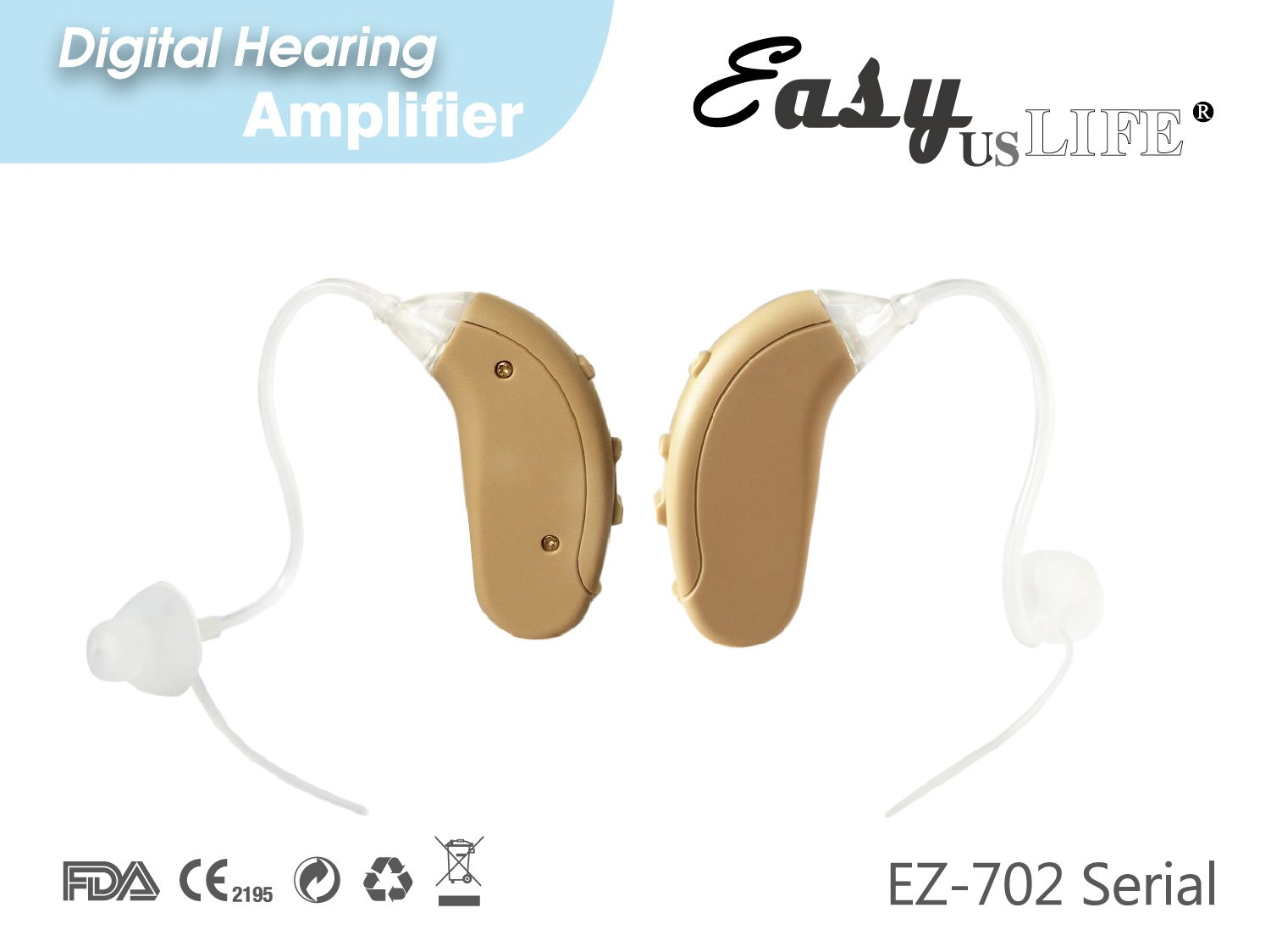 Easyuslife Ear Amplifiers Set Of 2 Hearing Amplifiers Devices With Digital Noise Cancellation , Discreet and Lightweight Ear Amplifying Machine With Volume and Frequency Control System by EASYUSLIFE