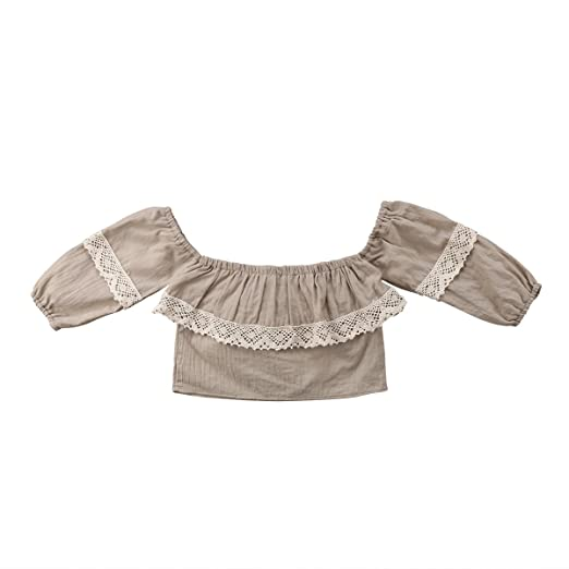 d3ba2afa8 Toddler Little Baby Girl Lace Collar Puff Sleeve Top Shirt Off-Shoulder  Blouse Clothes (