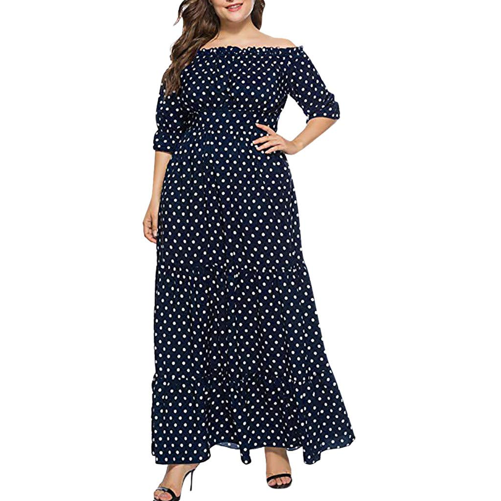 Womens Plus Size Polka Dot Off Shoulder 3/4 Sleeve Bohemian Long Dresses Evening Party Maxi Gown (Blue, XL) by Jieou