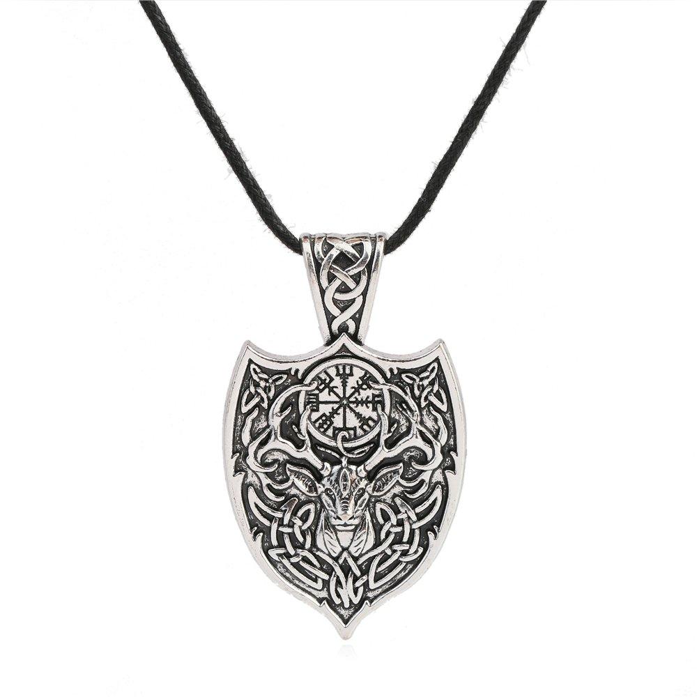 Skyrim Viking Amute Cerf Animal Nœ ud Symbole Collier Bijoux pour hommes et femmes YI WU KE JI