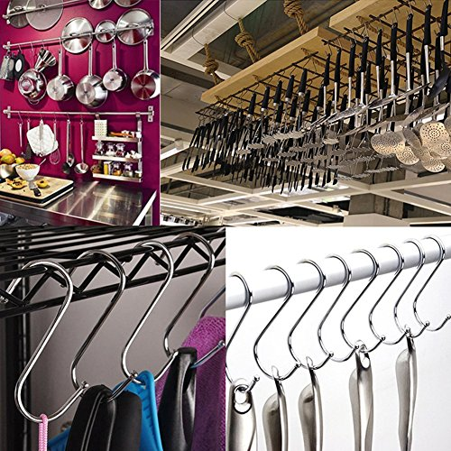 S Hooks 3 inch S Shaped Utility Hooks, Topick 30 Pack Hanging Hooks Stainless Steel Metal Hanger Heavy Duty Hooks, Storage Holders for Kitchen, Work Shop, Bathroom, Plants, Office, Garden (3in Bold) by Topick (Image #4)