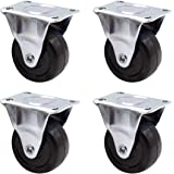 Luomorgo 4Pcs Casters Heavy Duty 2 inch Rubber Black Caster Wheels with Rigid Fixed Non-Swivel Top Plate for Furniture