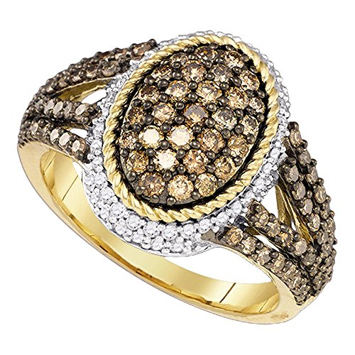 (10k Yellow Gold Brown Diamond Oval Halo Cocktail Ring Chocolate Band Rope Style Fancy 1-1/5 ctw Size 7.5)