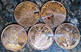 NORSE GODS 1 oz Copper Rounds COMPLETE SET, FIVE COINS: Odin, Thor, Freya, Loki, and Hel