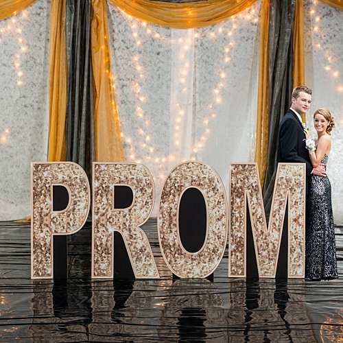 Shindigz Sequins and Bow Ties Prom Letter Set Standup Photo Booth Prop Background Backdrop Party Decoration Decor Scene Setter Cardboard Cutout -