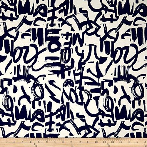 (Telio 0572563 Bloom Cotton Spandex Sateen Graffiti Ecru/Ink Fabric by the Yard)