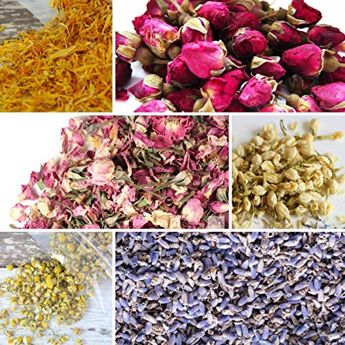 bMAKER Bulk Botanical Flowers Kit (6pack) Edible & Kosher Certified 1.5 Cups Each of Jasmine, Rosebuds, Lavender, Marigold, Chamomile and Pink Rose Buds & Petals, 2ml of Rose Absolute Essential Oil