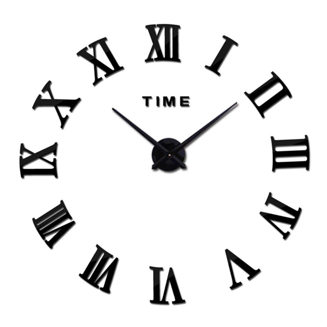 Netmetoo DIY 3D Wall Clock Modern Large Home Decor Sticker Frameless Black Mirror Living Room Roman