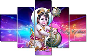 TUMOVO Wall Decoration for Living Room Indian Krishna Wall Art 5 Pcs Radha Krishna Pictures for Bedroom Hindu God Artwork for Home Walls Framed Ready to Hang Posters and Prints (60''Wx40''H)