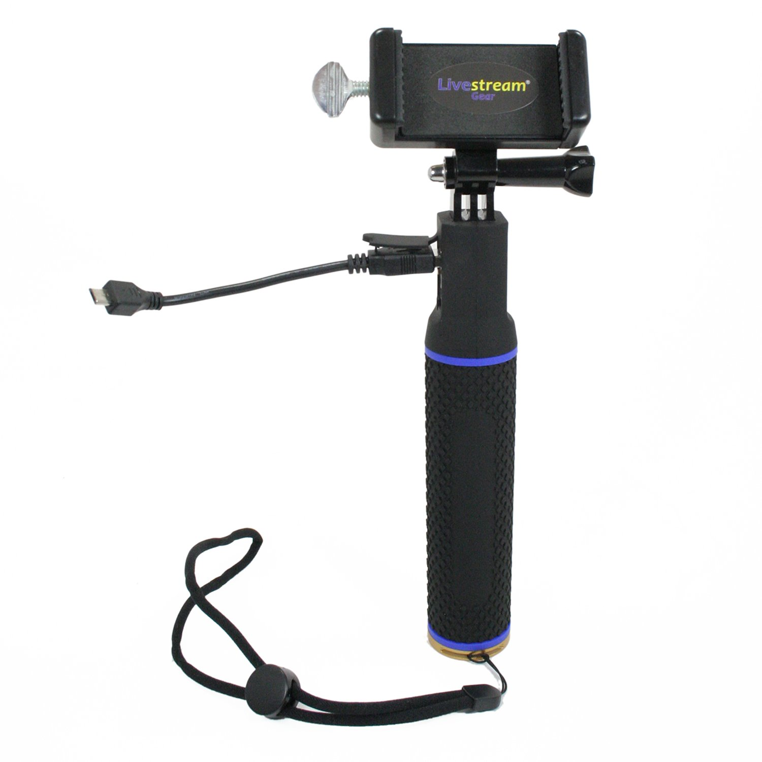 Livestream Gear - Battery Hand Grip for Streaming/Video - Any Phone. Get 3X The Film with 5200 mAh Battery Grip. Two Device Mounts (md & lg) - Works w/Sport Cameras. (Battery Grip Setup)
