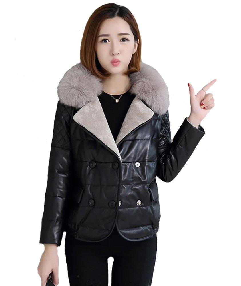queenshiny Queeenshiny New Women's Sheep Leather Coat with Fox Fur Collar Black XS(0-2)