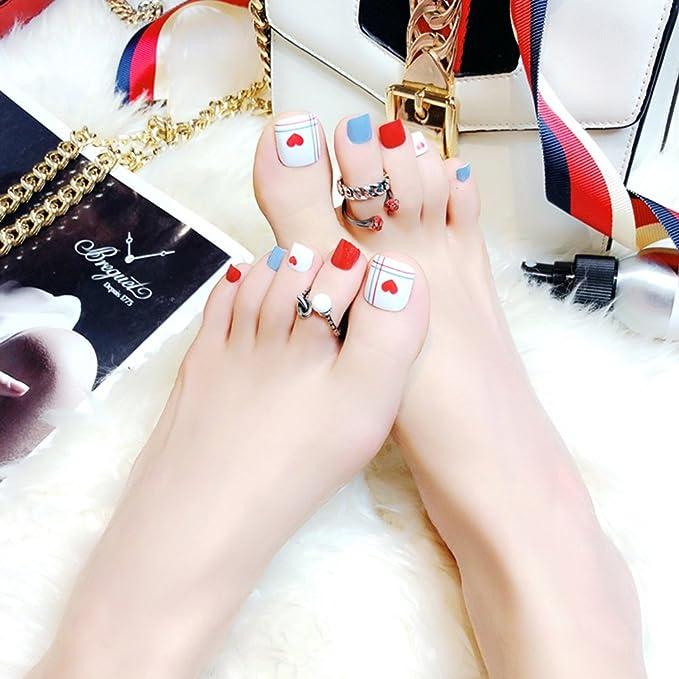 Pu Ran - 24 piezas de puntas de uñas postizas con purpurina geométrica con pegamento para dedo del pie: Amazon.es: Belleza