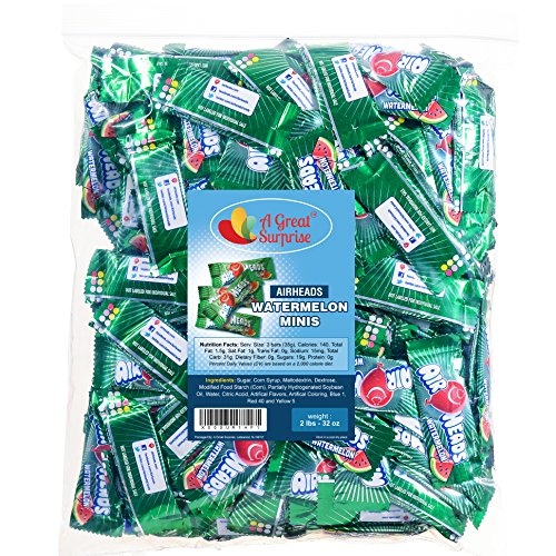 Airheads Bulk - Bulk Candy - Air Heads Mini Bars Watermelon Flavor Chewy Fruit Candies 2 lb Party Bag, Family Size