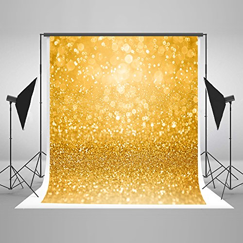 5ft(W) x7ft(H) Gold Glitter Sparkle Photography Background Glitzy Glam Golden Bokeh Dots Backdrop For Party Invite,Birthday,Wedding,Anniversary,Christmas Cotton and Upgrade