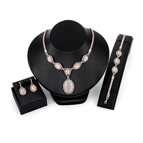 ad623a6515f4 FlYHIGH Conjunto de Joyas 1 Conjunto Collar Pendientes Pulsera Novia Boda  Joyería de Las Mujeres Colgante