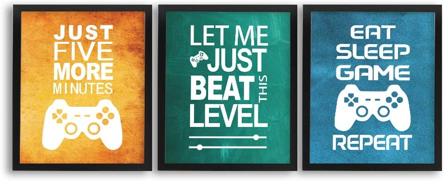 Set of 3 Inspirational Quotes Art Printing 8 * 10 inches Framed Funny Video Game Themed Wall Art Watercolor Gaming Canvas Poster for Kids Boys Playroom Bedroom Decor Ready to Hang