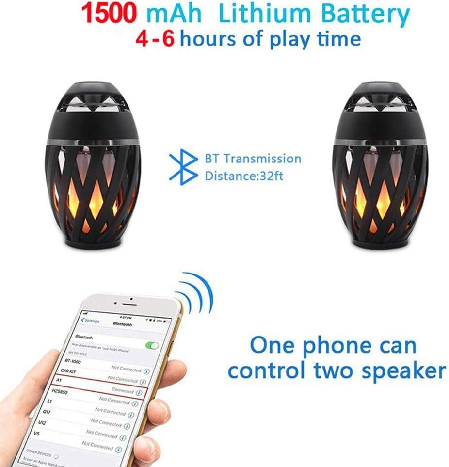 USB Rechargeable Etanche IP65 Lampe Design Moderne avec Haut-Parleur Bluetooth pour Exterieur et Int/érieur G-dux Lampe Ambiance avec LED Flamme Enceinte Bluetooth