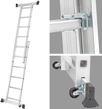 TecTake Escalera 3 en 1 de Aluminio Multipropósito Combinación y Andamio Plataforma de Trabajo: Amazon.es: Bricolaje y herramientas