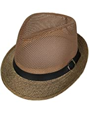 COMVIP Adult's Straw Summer Mesh Breathable Fedora Hats Beach Sun Cap