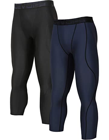 e75e6d89444f5 DEVOPS Men's 3/4 (2 Packs) Compression Cool Dry Tights Baselayer Running  Active