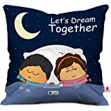 Indigifts Together Couple Cushion Cover 12X12 With Filler - Dark Blue Cute
