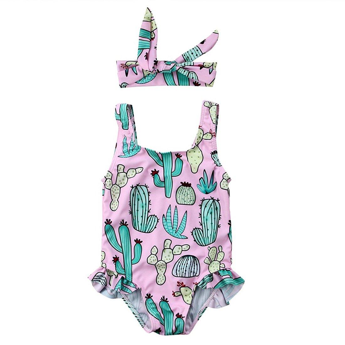 Cenhope Infant Baby Girls One-Piece Swimsuit Toddler Girl Cactus Sleeveless Ruffles Swimwear Beachwear with Headband