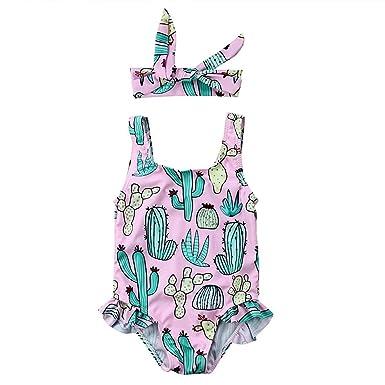 a0a24339fe Cenhope Infant Baby Girls One-Piece Swimsuit Toddler Girl Cactus Sleeveless Ruffles  Swimwear Beachwear with