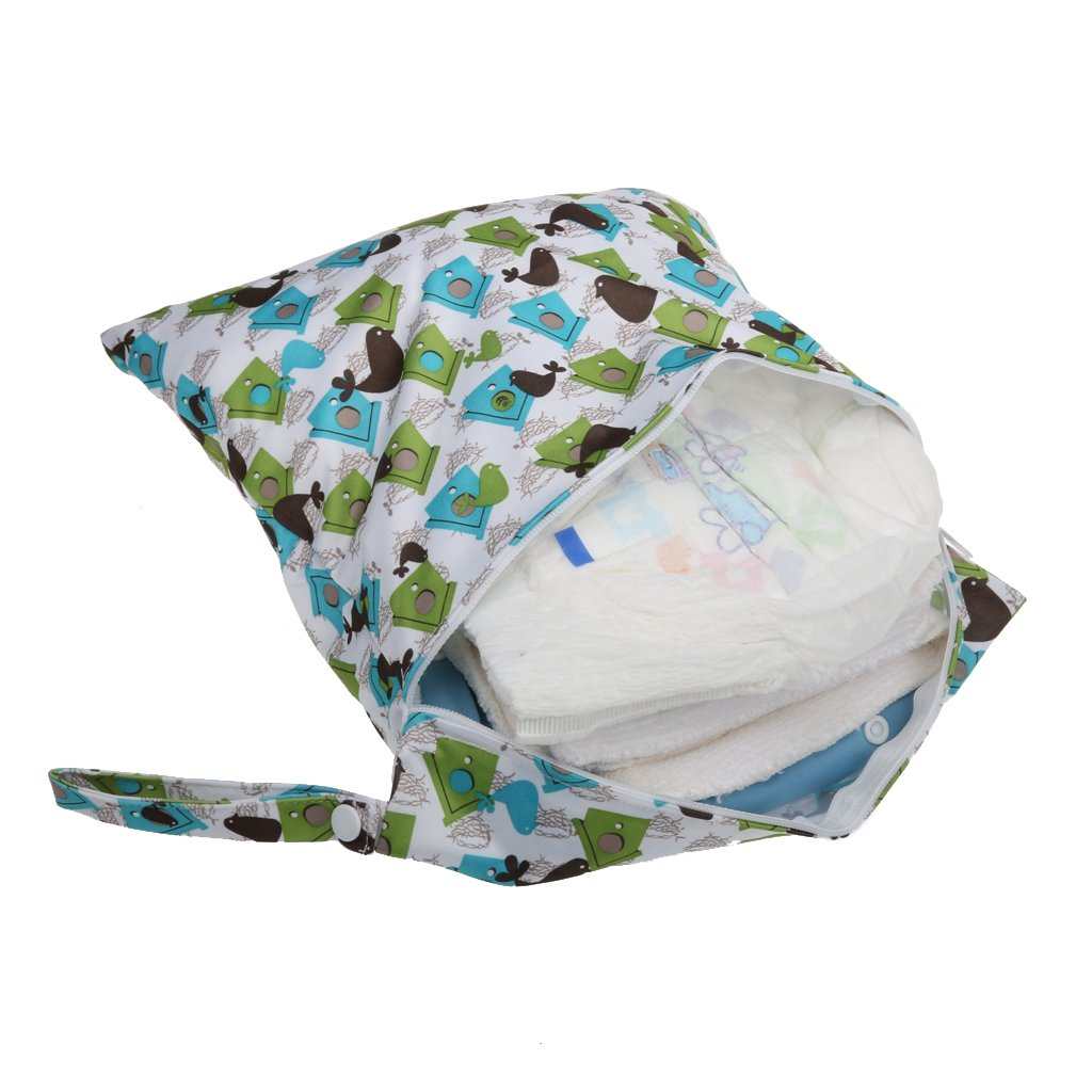 Bolsa de pa?ales de tela reutilizable con cremallera impermeable para beb/és peque?os