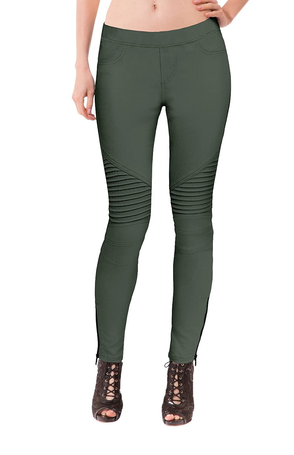 HyBrid & Company Womens Super Comfy Stretch Ankle Zip Moto Skinny Pants
