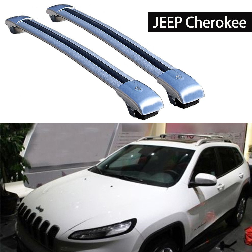 Roof Racks Crossbar Jeep Cherokee 2014-2018 Baggage Roof Rack Rail Cross Bar - Silver KPGDG