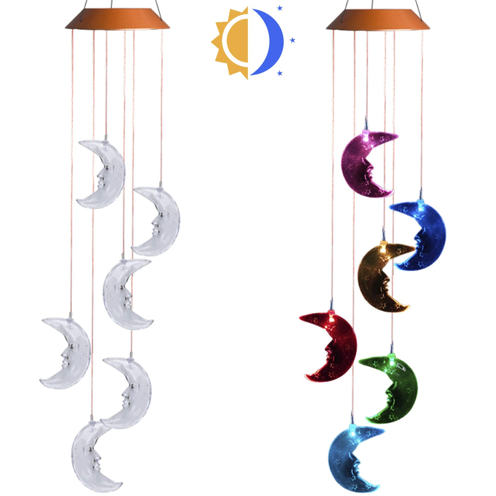 Asbana Solar Powered Wind Spinner Light, 6 Moons with 7 Colors Changing Wind Light, Waterproof Hanging Wind Chime Lamp Mobile Suspended Light for Home Outdoor Garden Lighting Decor by Asbana