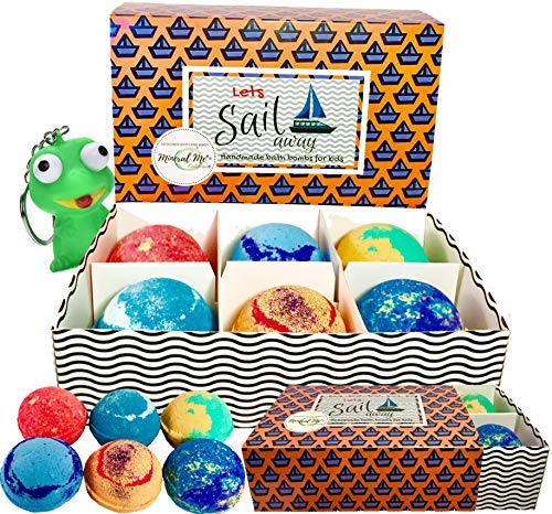 Bath Bombs for Kids - Made in USA -100% All Natural w/Organic Shea Butter & Sea Salt Dry Skin Moisturizer. Large Vegan Bubble Bath Fizzie w/lush fragrance. Gift for Boys and Girls. Bonus Toy in box