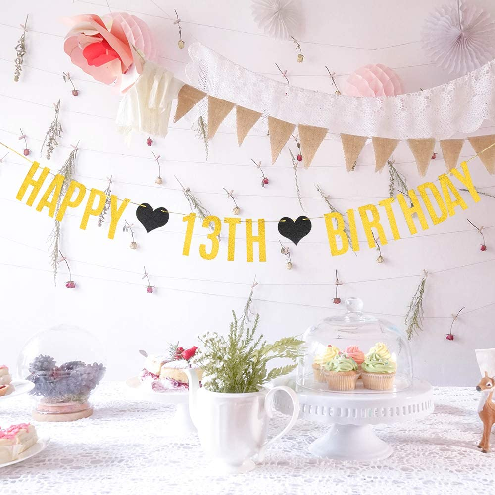 WeBenison Happy 13th Birthday Banner Official Teenager Birthday Banner Cheers to 13 Years Birthday Party Decoration Supplies//Gold Glitter