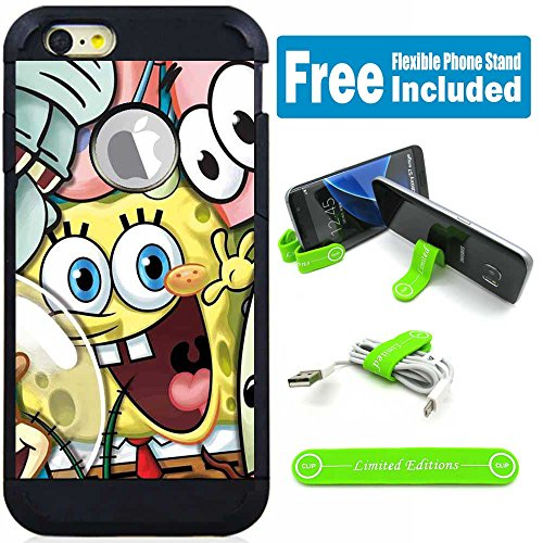 Apple iPod Touch 5/6 5th/6th Generation Hybrid Armor Defender Case Cover with Flexible Phone Stand - Sponge Bob Friends (Spongebob Touch 5 Case Ipod)