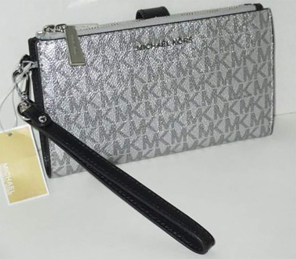 Michael Kors Jet Set Travel double Zip Wristlet (Silver/Black) by Michael Kors (Image #5)