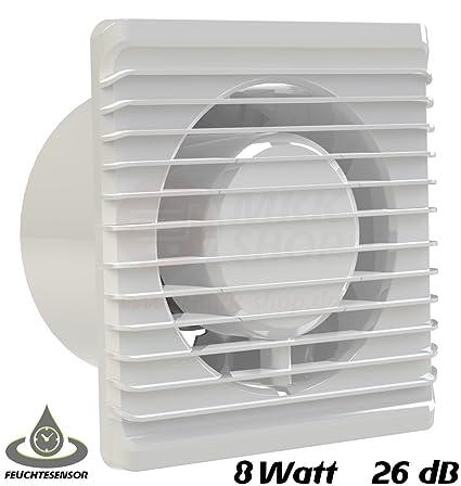 Badventilator Ø 100 mm in weiß mit Feuchtigkeitssensor Hygrostat sowie Timer Nachlauf MKK-PLANET Lüfter Ventilator Front Wand