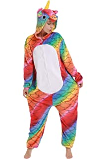 Adult Onesie for Women,Unicorn Pyjamas Costume Fleece One-Piece Halloween Cosplay Pjs Birthday Gifts