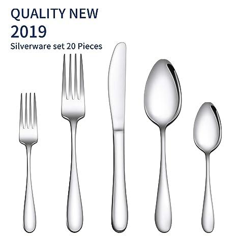 Amazon.com: Gineoo - Juego de cubiertos (20 piezas, acero ...