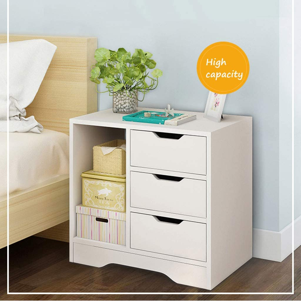 Color : White, Size : 49 * 31.5 * 48.5cm Dressers /& Chests of Drawers Bedside Table Bedroom Simple Assembly Cabinet Mini Storage Cabinet Bedside economical Locker