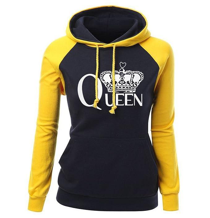 746078fd1a La mujer SPORTSWEAR OTOÑO INVIERNO Raglan Hoody para mujer ropa de marca de  moda Streetwear Imprimir Reina corona caliente Sudadera amarillo negro XXL   ...