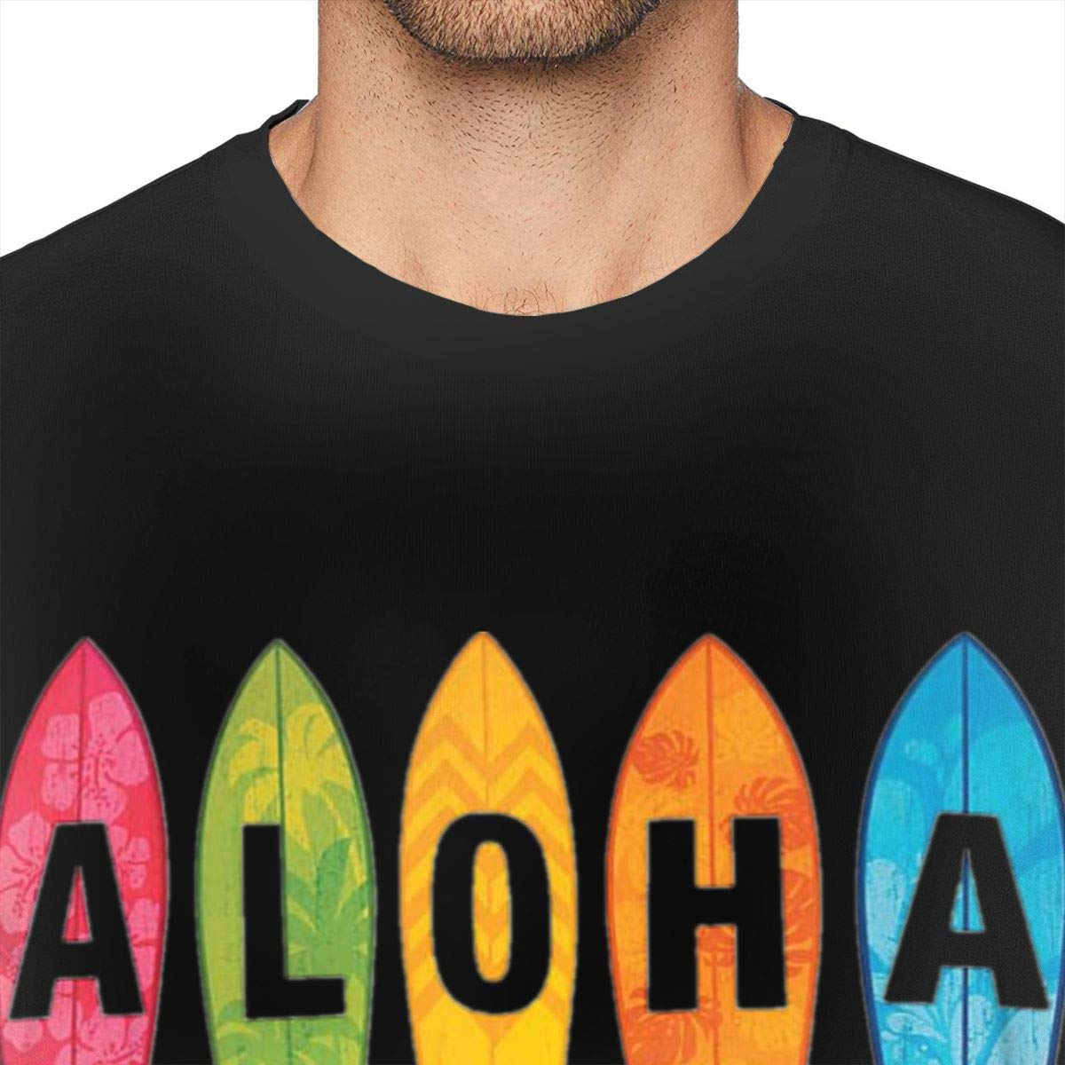 Aloha in Leaf Graphic T-Shirt Men Soft Crew Neck T-Shirts Tees Size:S-6XL