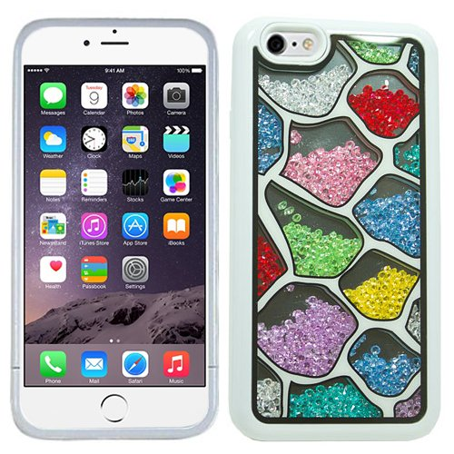 White Pink Red Blue Green Yellow Shapes Bling Rhinestone Crystal Shaker Case Cover Diamond For Apple iPhone 6 PLUS with Free Pouch