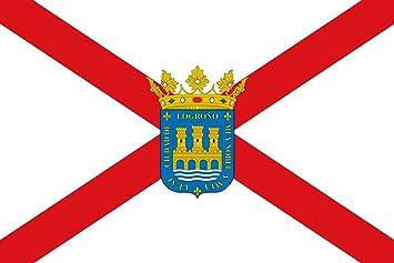 magFlags Bandera Large Ciudad de Logroño es La Rioja - España Según la descripción Paño Blanco de Proporciones 2/3 con una Cruz de San Andrés roja y el escud: Amazon.es: Jardín